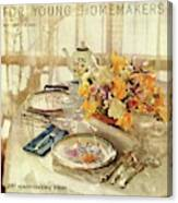 A Table Setting With A Floral Centerpiece Canvas Print