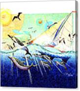 A Tern With The Dolphins Canvas Print