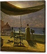 A Terrace In Amalfi In Moonlight Canvas Print