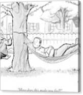 A Therapist Sits On A Swing Behind And Addresses Canvas Print