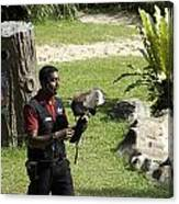 A Trainer And A Large Bird Of Prey At A Show Inside The Jurong Bird Park Canvas Print