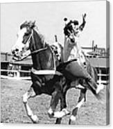 A Trickriding Cowgirl Canvas Print