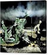 A United States Gun Crew Fire Illumination Rounds At Forward Operating Base Hadrian Canvas Print