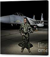 A U.s. Air Force Pilot Stands In Front Canvas Print