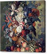 A Vase Of Flowers With Fruit Canvas Print