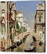 A Venetian Canal  Canvas Print