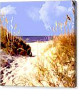 A View Through The Dunes To The Ocean Canvas Print