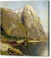 A Village By A Fjord Canvas Print