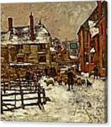 A Village In The Snow Canvas Print
