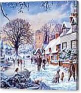 A Village In Winter Canvas Print