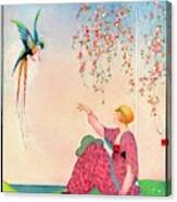 A Vogue Cover Of A Woman With A Bird Canvas Print