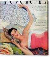 A Vogue Cover Of Anne Gunning Under An Umbrella Canvas Print