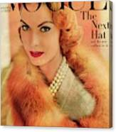 A Vogue Cover Of Mary Mclaughlin Wearing A Fox Canvas Print