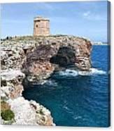 Xviii Defensive Tower In Alcafar Minorca - A Walk About Cliffs Canvas Print