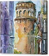 A Walk Around Galata Tower - Istanbul Canvas Print