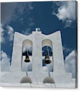 A Whitewashed Bell Tower And Dramatic Canvas Print