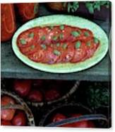 A Wine & Food Cover Of Tomatoes Canvas Print