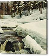 A Winter Landscape With A Mountain Torrent Canvas Print