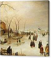 A Winter River Landscape With Figures On The Ice Canvas Print