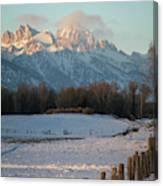 A Winter Scene Of A Snowy Field, Fence Canvas Print