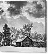 A Winter Sky - Oil Bw Canvas Print