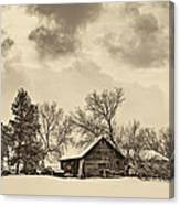 A Winter Sky Sepia Canvas Print