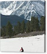A Woman Bike Riding On The  Snow Canvas Print