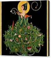 A Woman Dressed As A Christmas Tree Canvas Print