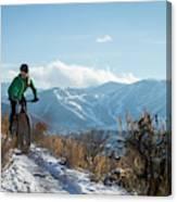 A Woman Fat Biking On The Trails Canvas Print