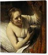 A Woman In Bed Canvas Print