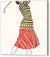 A Woman In Full Swing Playing Golf Canvas Print