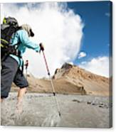 A Woman Is Crossing A River, Spiti Canvas Print