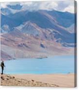 A Woman Is Hiking Toward Tsomoriri Canvas Print