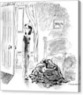 A Woman Is Seen Standing In A Bedroom Next Canvas Print