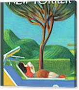 A Woman Lays Outside Under A Tree Reading A Book Canvas Print