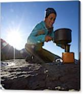 A Woman Making Coffee With Portable Canvas Print