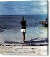A Woman On A Beach Canvas Print
