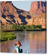 A Woman Reading At A Camp Along Utahs Canvas Print