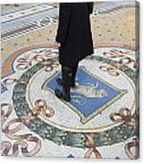 A Woman Rubs Her Heel For Good Luck On The Crest Of The Bull In Galleria Vittorio Emanuele II  Canvas Print