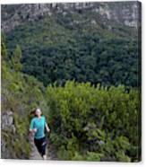 A Woman Running On One Of The Many Canvas Print