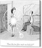 A Woman Shows Her Husband A Shining Lens Flare Canvas Print