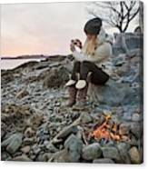 A Woman Takes A Cell Phone Picture Canvas Print