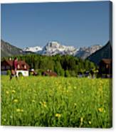 A Woman Walks Through An Alpine Meadow Canvas Print