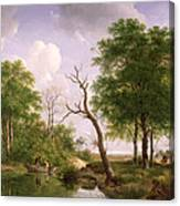 A Wooded River Landscape With Sportsmen In A Rowing Boat Canvas Print
