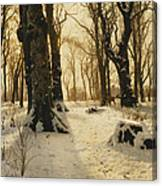 A Wooded Winter Landscape With Deer Canvas Print