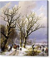 A Wooded Winter Landscape With Figures Canvas Print