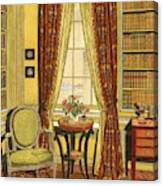 A Yellow Library With A Vase Of Flowers Canvas Print
