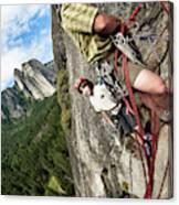 A Young Boy And Climbers In Yosemite Canvas Print