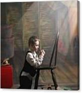 A Young Boy Praying With A Light Beam Canvas Print
