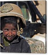 A Young Boy Wears A Coalition Force Canvas Print